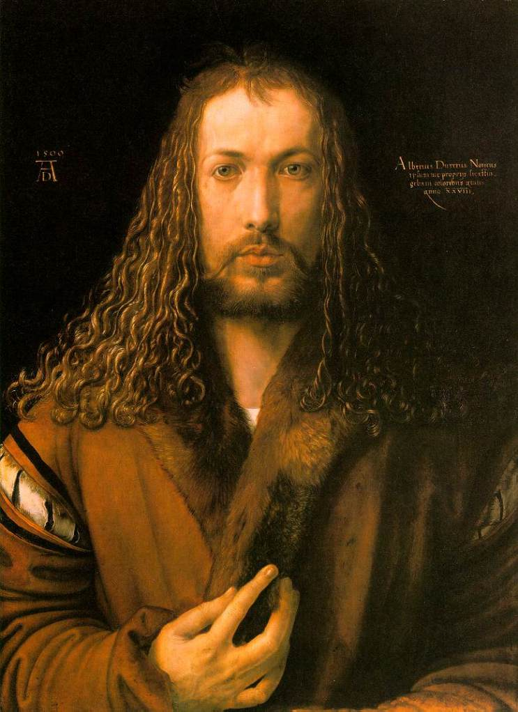 "Albrecht Durer, ""Self Portrait"", 1500; oil on wood panel"